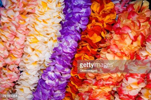 Close-up of garlands in a row : Stock Photo