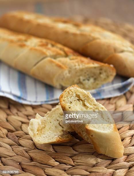 Close-up of garlic bread baguette