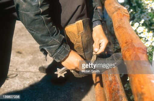 Close-up of gaucho's hands strapping on spurs (horse-riding aid), Chile : Stock Photo