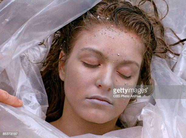 Closeup of Germanborn American actress Sheryl Lee lies wrapped in a plastic sheet on a rocky beach in a scene from the pilot episode of the...