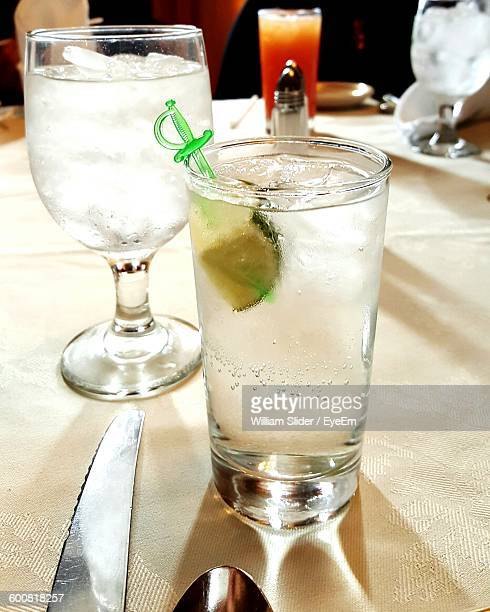 Close-Up Of Gin And Tonic In Glass On Table