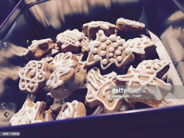 Close-up of gingerbread cookies in container