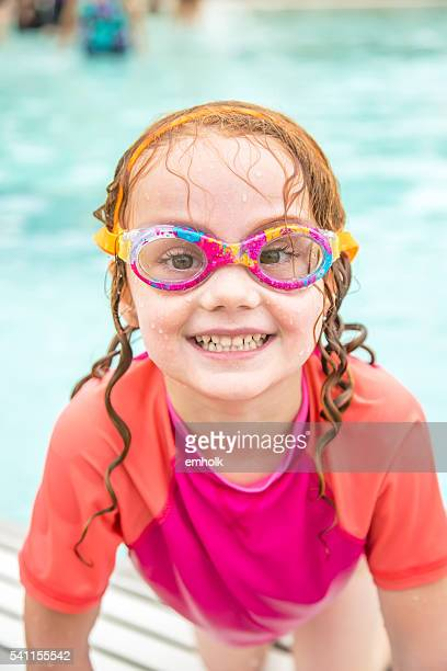 Close-Up of Girl at Outdoor Swimming Pool in Summer