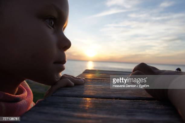 Close-Up Of Girl Watching Ladybug On Hand Against Sky During Sunset