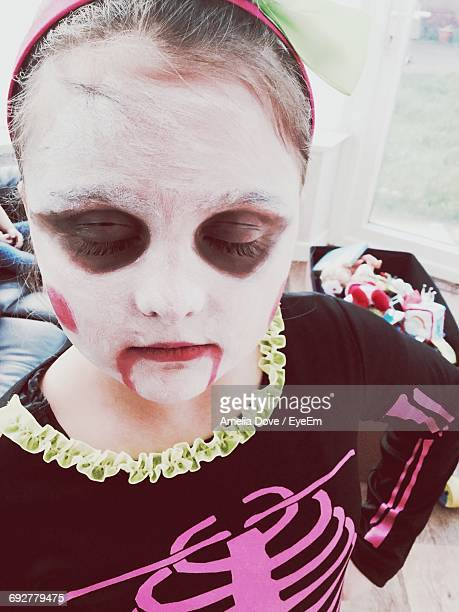 Close-Up Of Girl With Spooky Make-Up During Halloween
