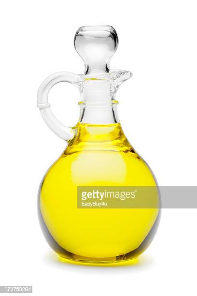 Close-up of glass jug of vegetable oil