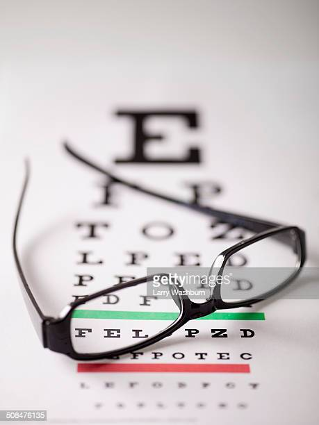 Close-up of glasses on eye exam chart