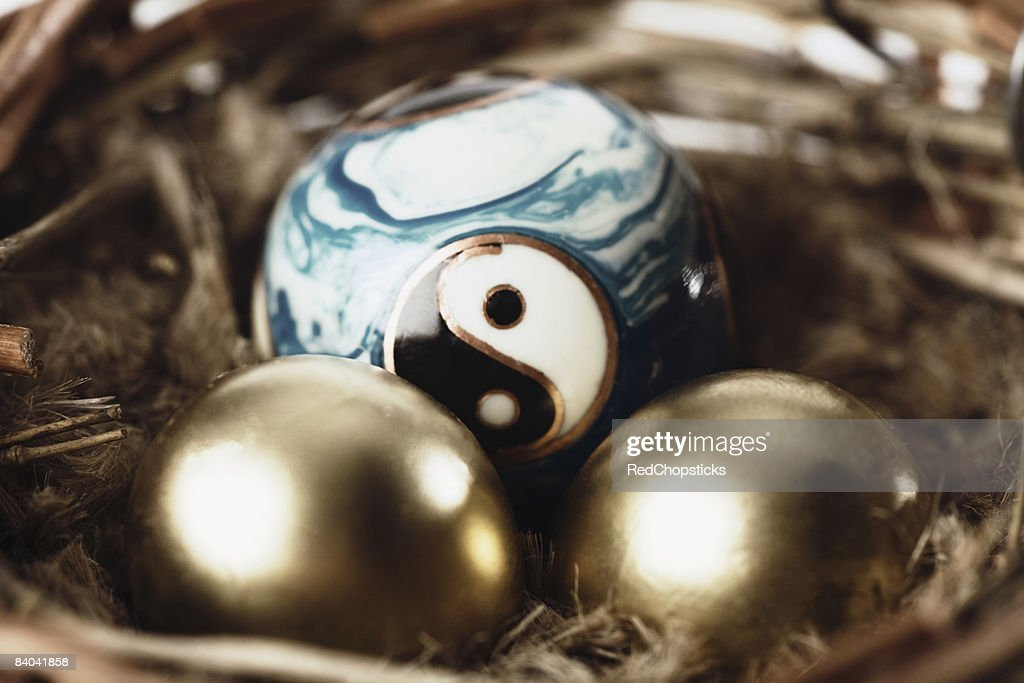 Close-up of golden eggs with a yin yang ball in a bird's nest : Stock Photo