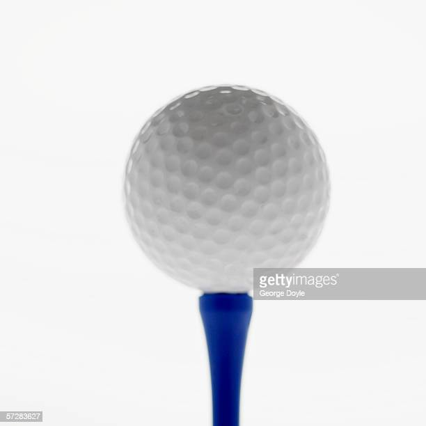 Close-up of golf ball on a golf tee