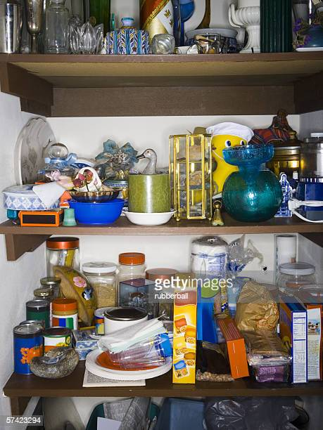 Close-up of goods on shelves in a pantry