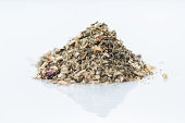 Close-up of greek vegetables spices blend on white background