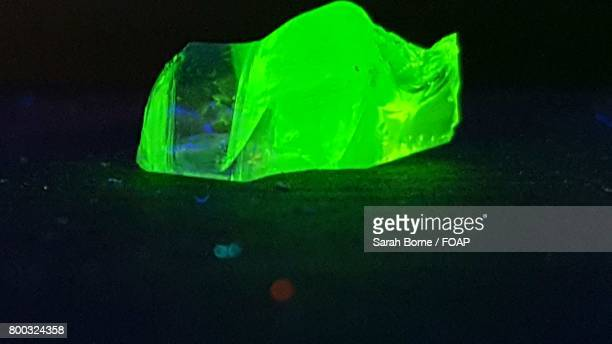 Close-up of green glowing stone