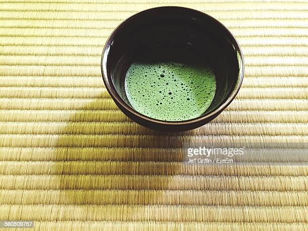 Close-Up Of Green Matcha Tea On Table