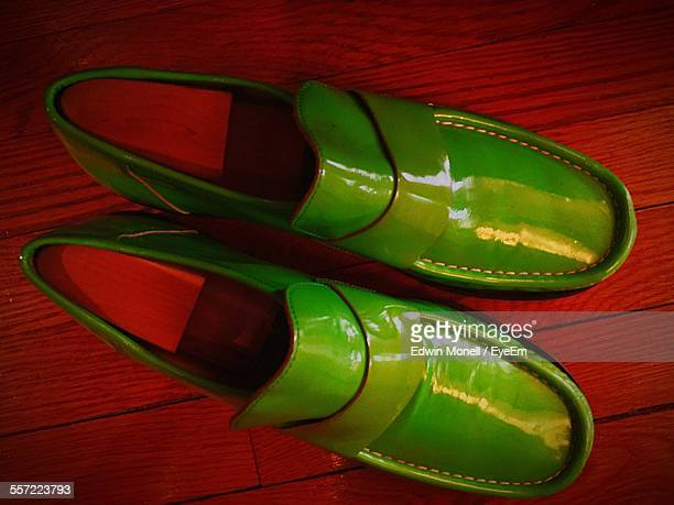 Close-Up Of Green Pair Shoes