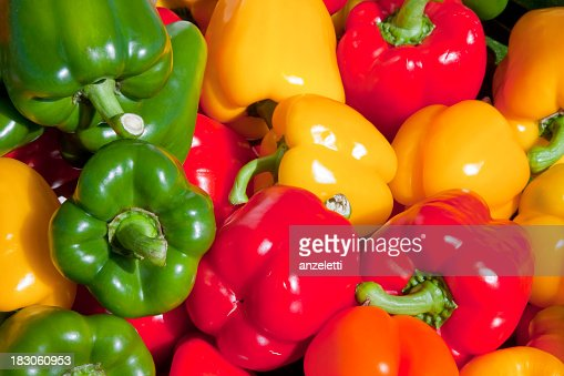 Variety of coloured bell peppers