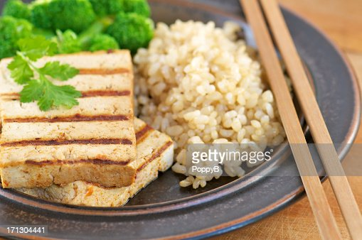 Close-up of Grilled Tofu with Brown Rice : Stock Photo