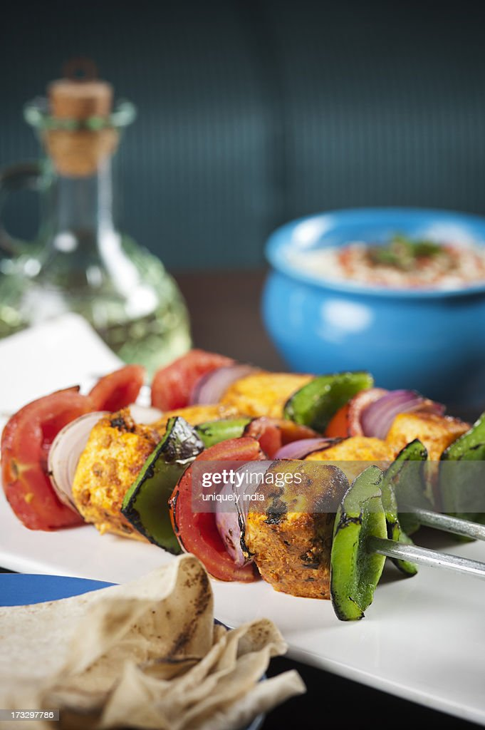 Close-up of grilled vegetable kebab