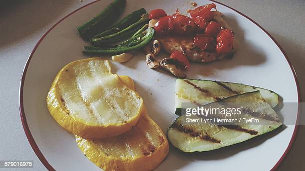 Close-Up Of Grilled Vegetables On Plate