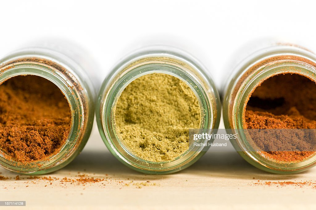 Close-up of ground chilli, cumin and paprika : Stock Photo