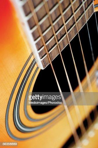Close-up of guitar bridge : Stock Photo
