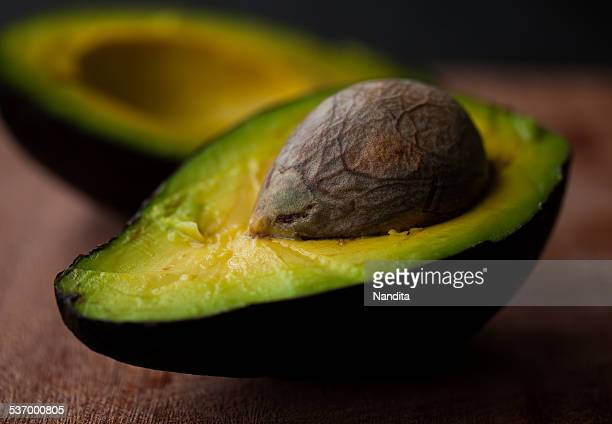 Close-up of halved avocado fruit