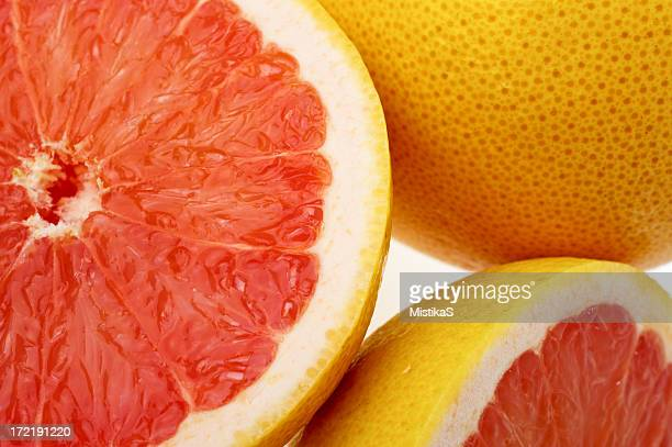 Close-up of halved grapefruits