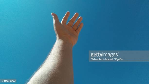 Close-Up Of Hand Against Clear Blue Sky