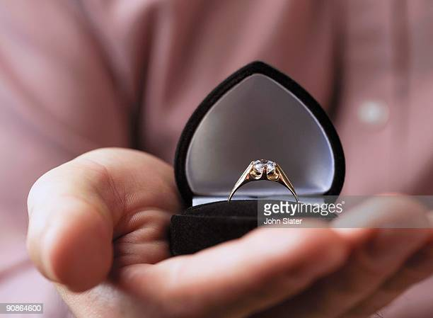 Close-up of hand holding engagement ring