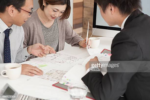 Closeup of happy couple buying a new house