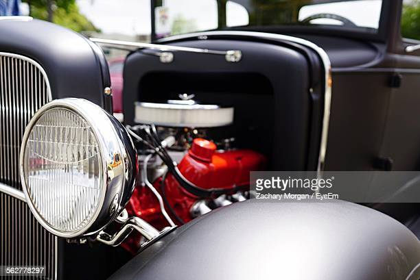 Close-Up Of Headlight Of Vintage Car