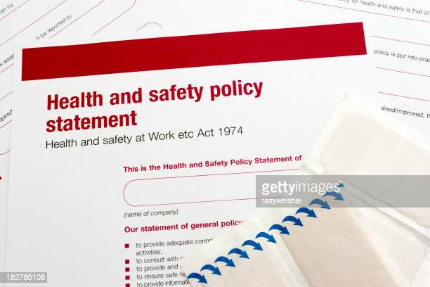 Close-up of health and safety policy statement with red text