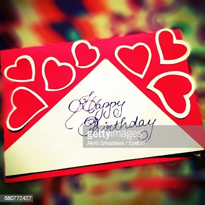 Close-Up Of Heart Shape On Birthday Card