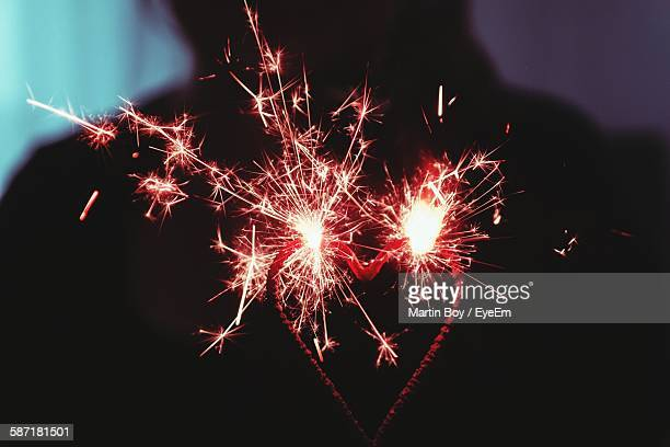 Close-Up Of Heart Shape Sparkler