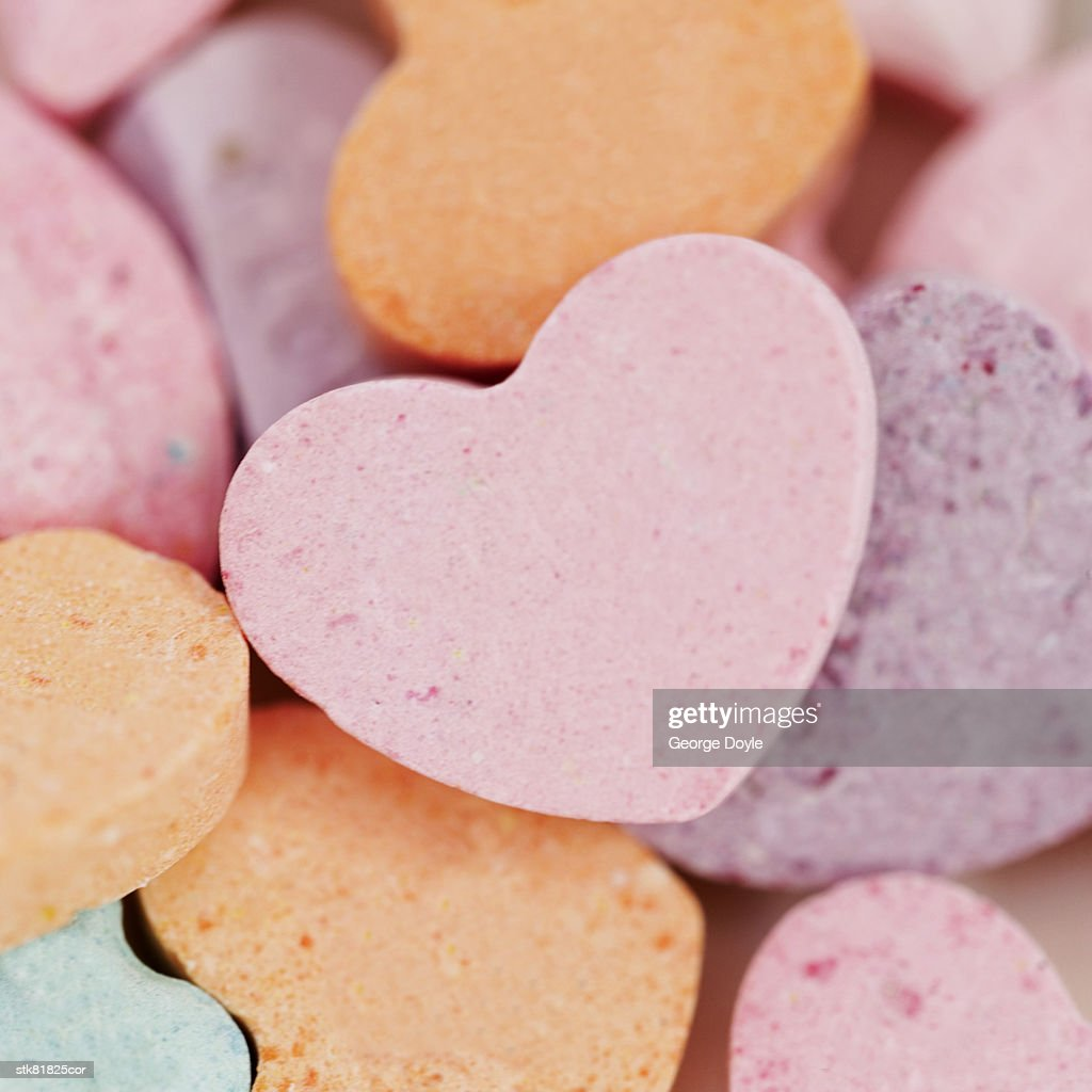 close-up of heart shaped candies