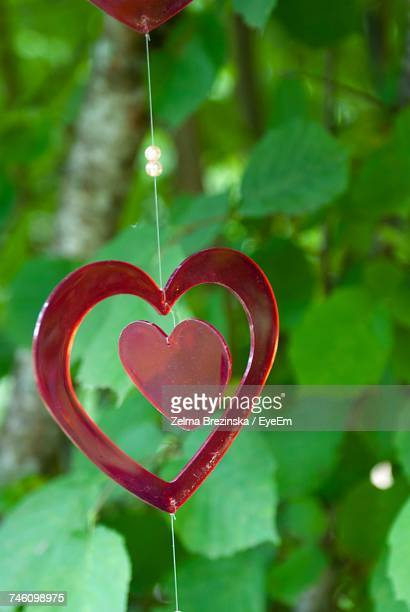 Close-Up Of Heart Shaped Decoration Hanging Outdoors