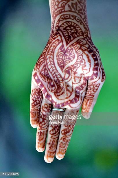 Close-up of henna tatto, mehndi