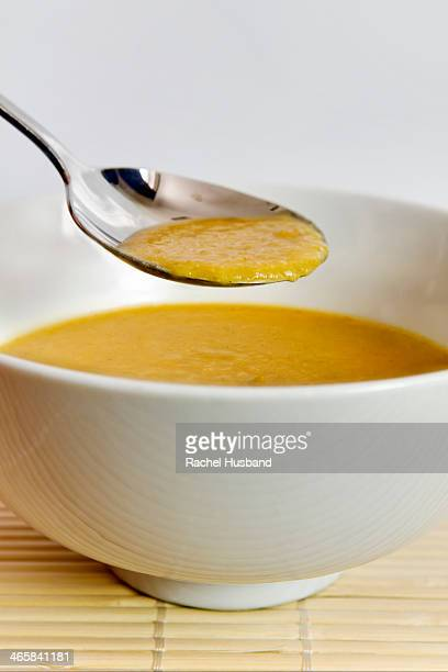 Close-up of home made curried parsnip soup