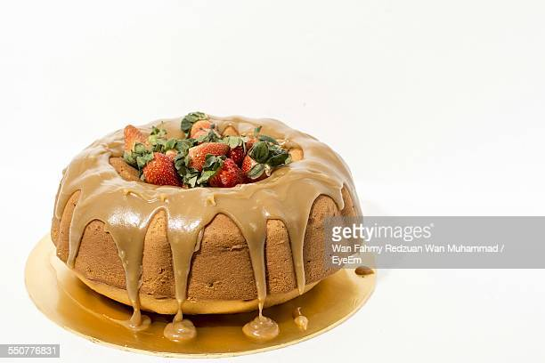 Close-Up Of Homemade Bundt Cake With Strawberries