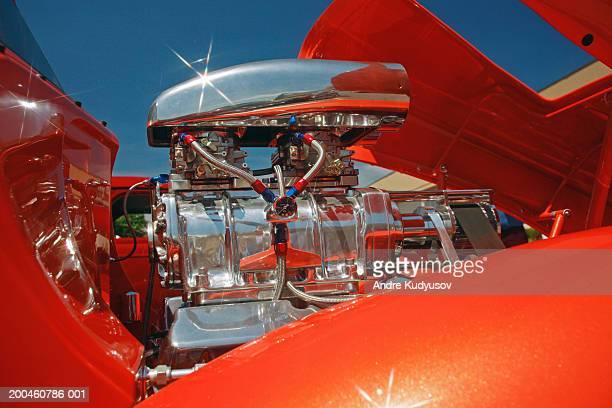 Close-up of hot rod engine