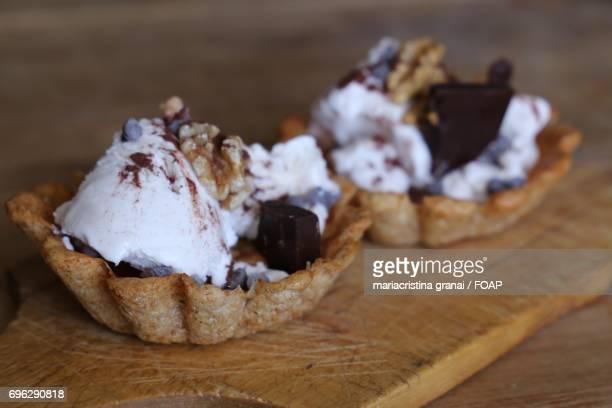 Close-up of ice cream on waffles