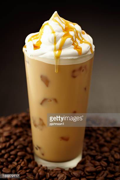 Close-up of iced coffee with Chantilly
