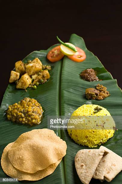 Close-up of Indian food on a banana leaf