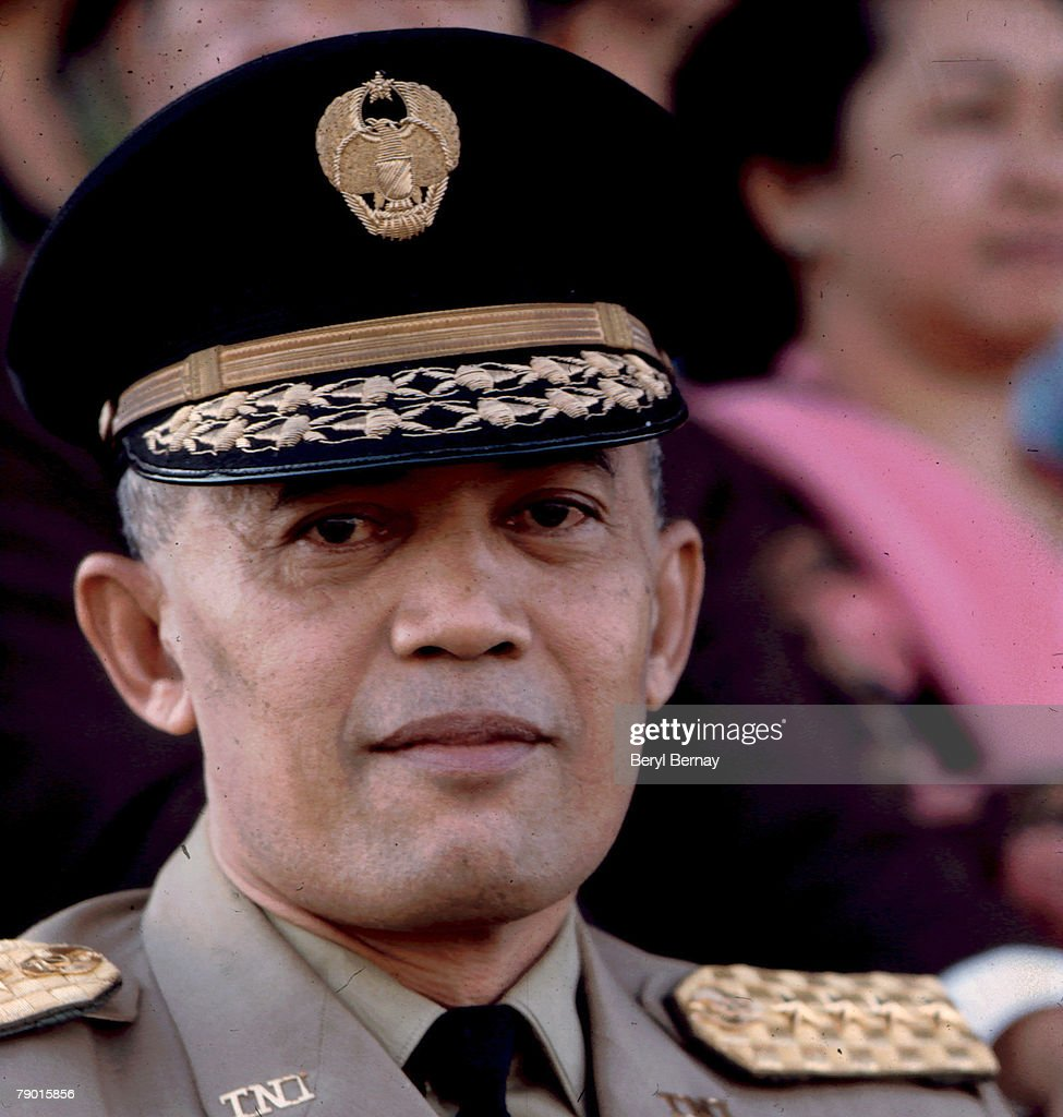 Close-up of Indonesian military leaser General Abdul Haris Nasution in uniform at an unidentified event, early to mid 1960s.