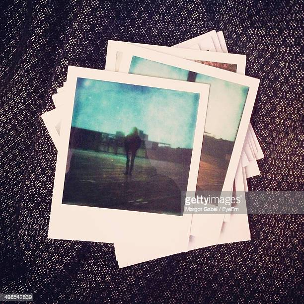 Close-up of instant photo pictures