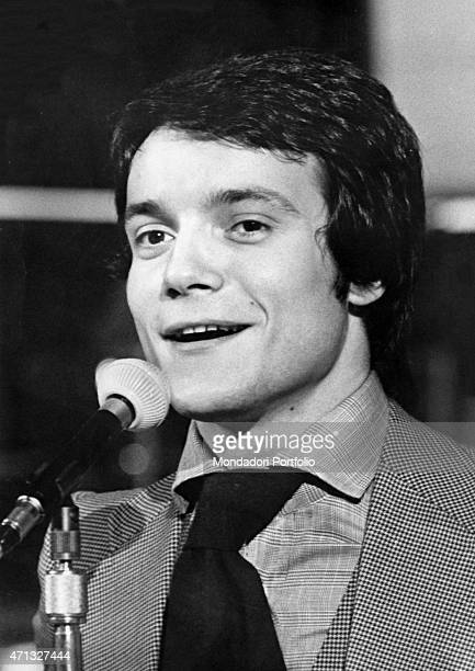 Closeup of Italian singer and theatre actor Massimo Ranieri performing at Canzonissima 1972 won by him with the song 'Erba di casa mia' Rome 1972