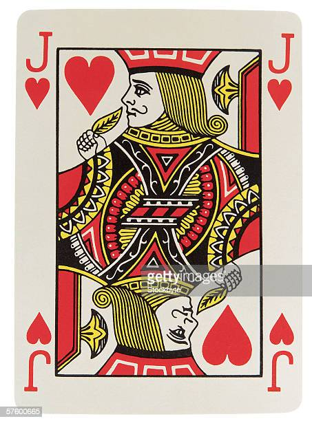 close-up of jack of hearts playing card