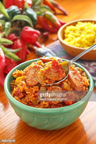 Close-Up Of Jambalaya Served In Bowl On Table