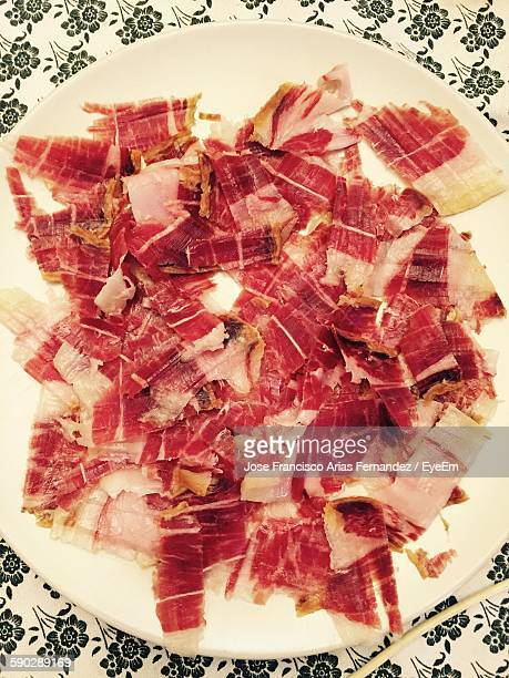 Close-Up Of Jamon Iberico In Plate