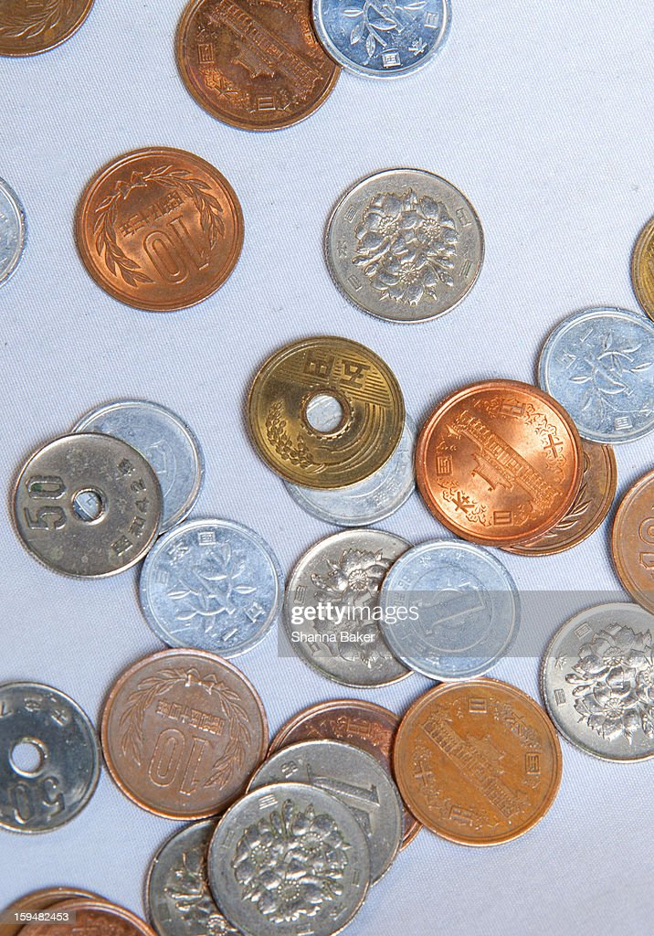 Close-up of Japanese coins : Stock Photo