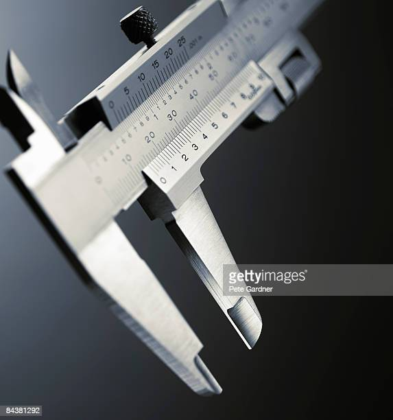 close-up of jaws of vernier calipers